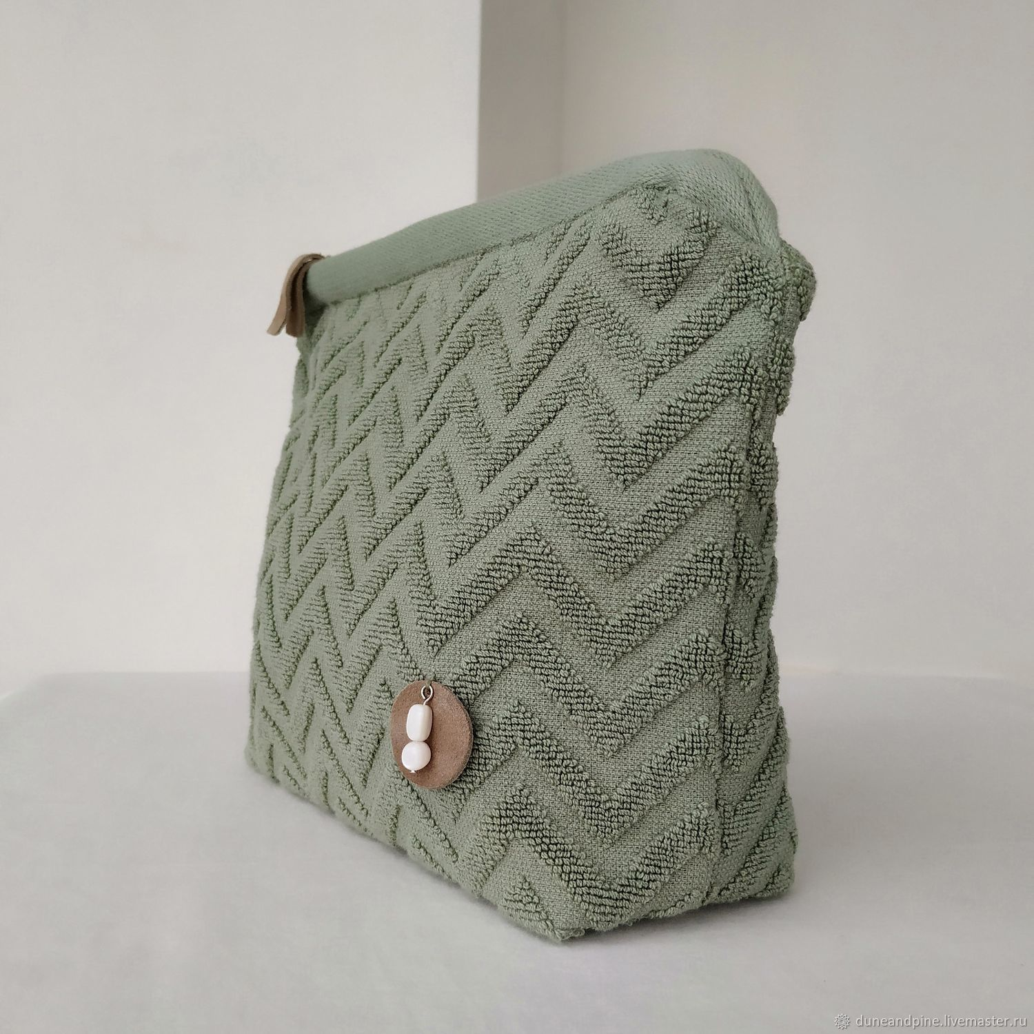 Cosmetic bag Terry light green cotton, Beauticians, St. Petersburg,  Фото №1