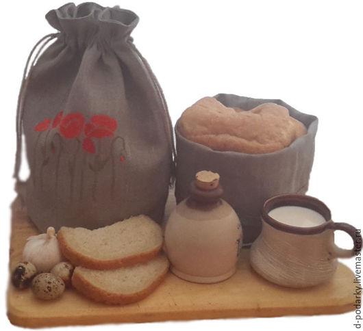 Упаковка ручной работы. Ярмарка Мастеров - ручная работа. Купить Мешочки для хранения хлеба. Handmade. Белый, лен натуральный