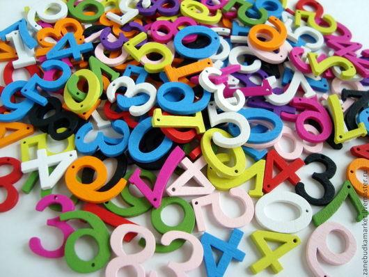 Шитье ручной работы. Ярмарка Мастеров - ручная работа. Купить Цифры деревянные разноцветные (набор 10 шт.). Handmade.