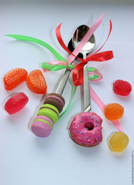 Ложки ручной работы. Ярмарка Мастеров - ручная работа. Купить Вкусная ложка с пончиком, macarons. Handmade. Макаруны, ложка с декором