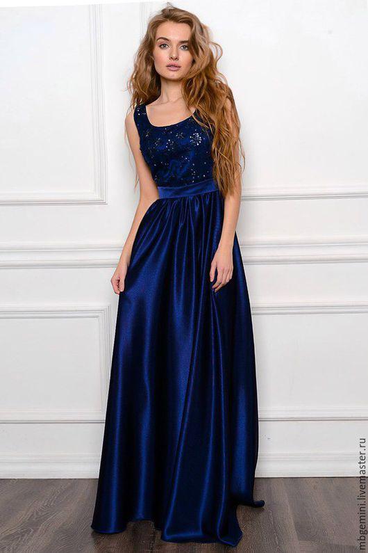 Платья ручной работы. Ярмарка Мастеров - ручная работа. Купить Платье вечернее. Handmade. Тёмно-синий, платье, платье женское