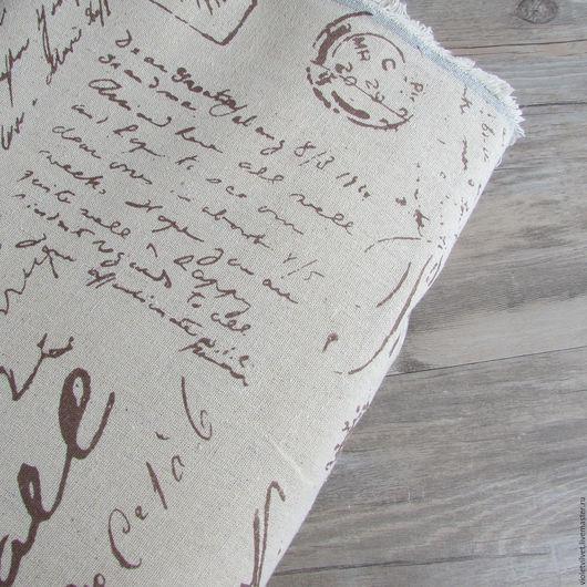 Ткань лен натуральный. Рисунок  Письма.