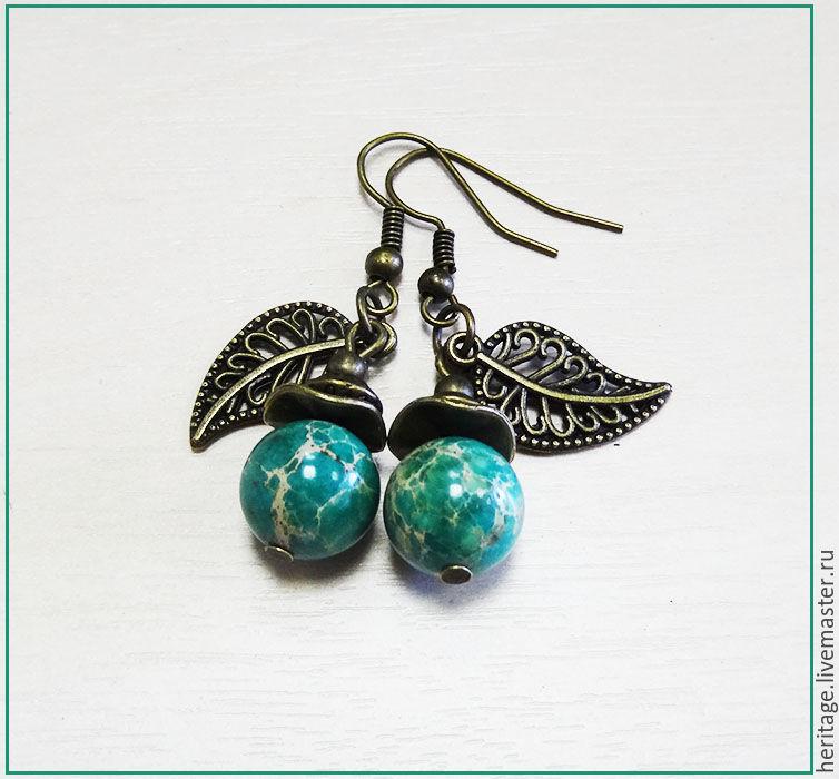 Earrings with leaf, Earrings, Moscow,  Фото №1