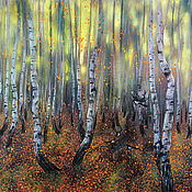Картины и панно handmade. Livemaster - original item Pastel painting The rustle of leaf fall Autumn birch forest. Handmade.