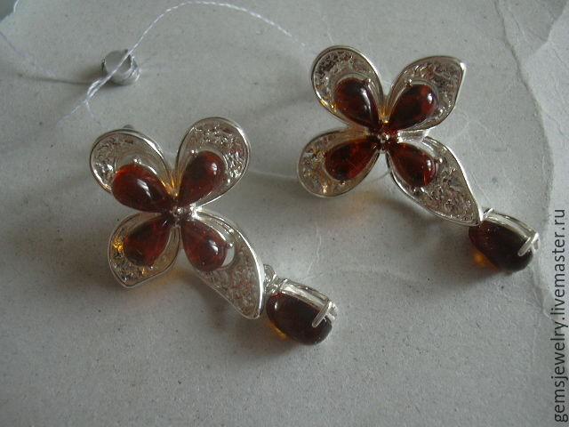 Earrings JASMINE AMBER925 silver, Earrings, Ekaterinburg,  Фото №1