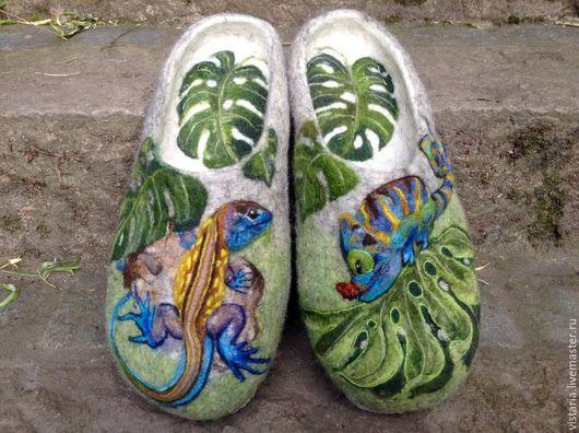 Обувь ручной работы. Ярмарка Мастеров - ручная работа. Купить Тапочки подарочные 3Д  «Рептилии» 30см.. Handmade. Серый