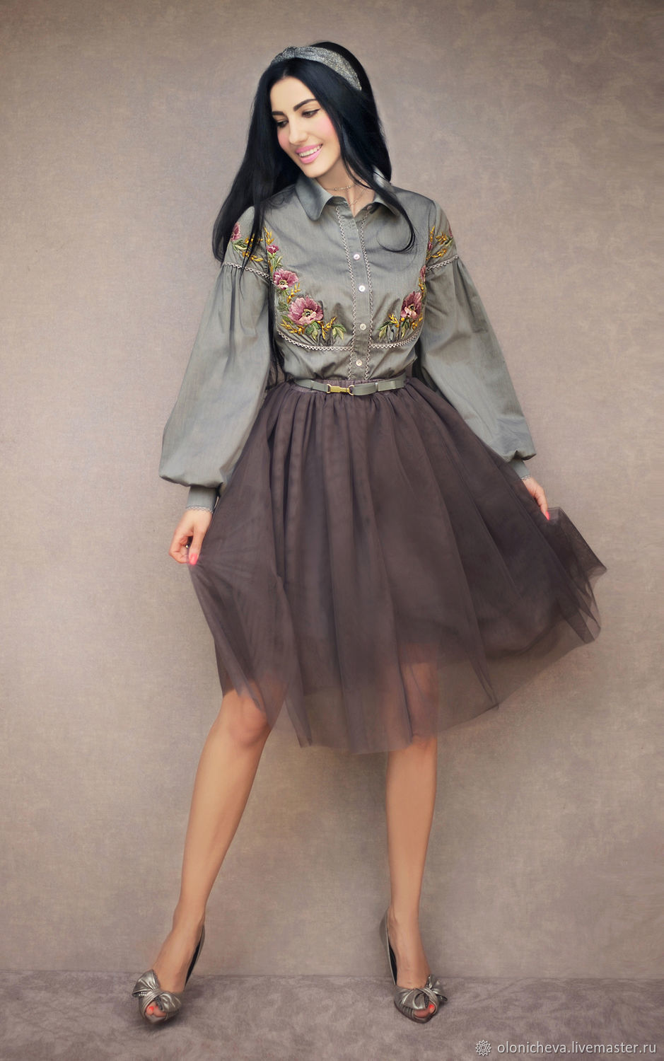 Costume with skirt 'Smoky evening' embroidered blouse, Suits, Vinnitsa,  Фото №1
