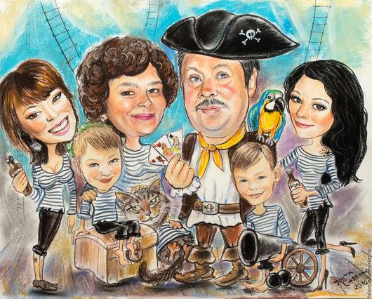 """Люди, ручной работы. Ярмарка Мастеров - ручная работа. Купить Семейный шарж """"Пираты"""". Handmade. Комбинированный, шарж на заказ"""