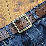 Ремни ручной работы. Ярмарка Мастеров - ручная работа Мужской широкий ремень в джинсы. Рыже-коричневый. Ширина 4,5 см.. Handmade.