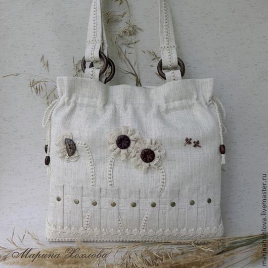 Льняная светлая бежевая сумка. Лен с вискозой. Сумка из льна.