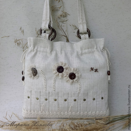 Льняная светлая бежевая сумка. Лен с вискозой. Сумка из льна. Сумки женские заказать.