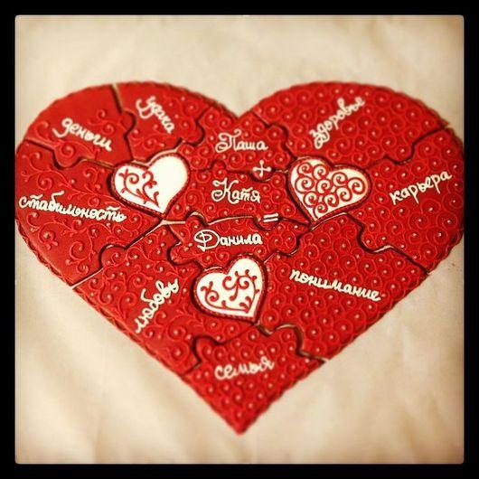 Кулинарные сувениры ручной работы. Ярмарка Мастеров - ручная работа. Купить Сердце пазл 11 кусочков 40х30см. Handmade.