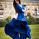 Платья ручной работы. Ярмарка Мастеров - ручная работа. Купить Платье с юбкой-солнце в пол. Handmade. Тёмно-синий