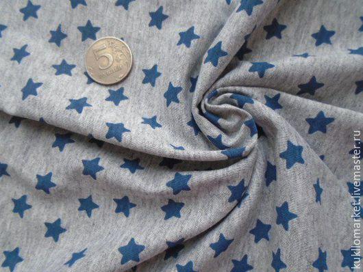 """Шитье ручной работы. Ярмарка Мастеров - ручная работа. Купить Кулирка трикотаж """" звезды синие на сером меланже """". Handmade."""