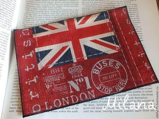 обложка на паспорт декупаж, красная обложка, обложка с флагом, обложка с британским флагом, Лондон, английский стиль, купить обложки в Москве, обложка в подарок