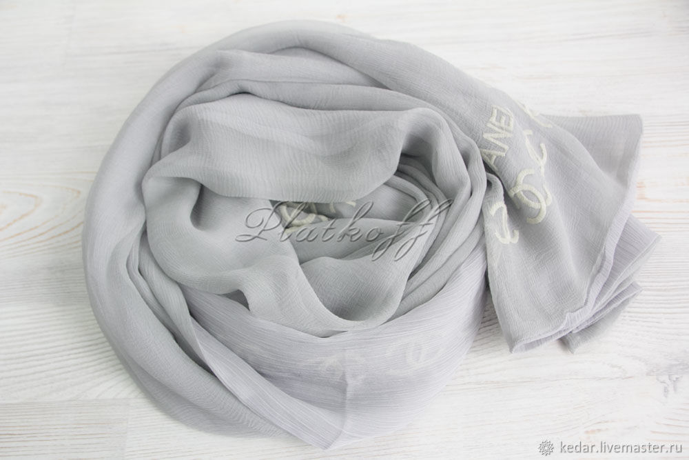 Silk double-sided scarf from Chanel fabric 'Monogram', Scarves, Moscow,  Фото №1