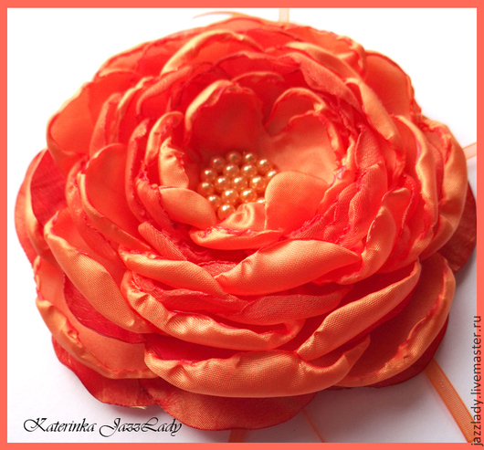 """Броши ручной работы. Ярмарка Мастеров - ручная работа. Купить Брошь """"Цветок-пламя"""". Handmade. Оранжевый, брошь из ткани, цветок"""