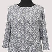 Одежда handmade. Livemaster - original item Jumper jacquard knit blue and white with a three-dimensional pattern. Handmade.