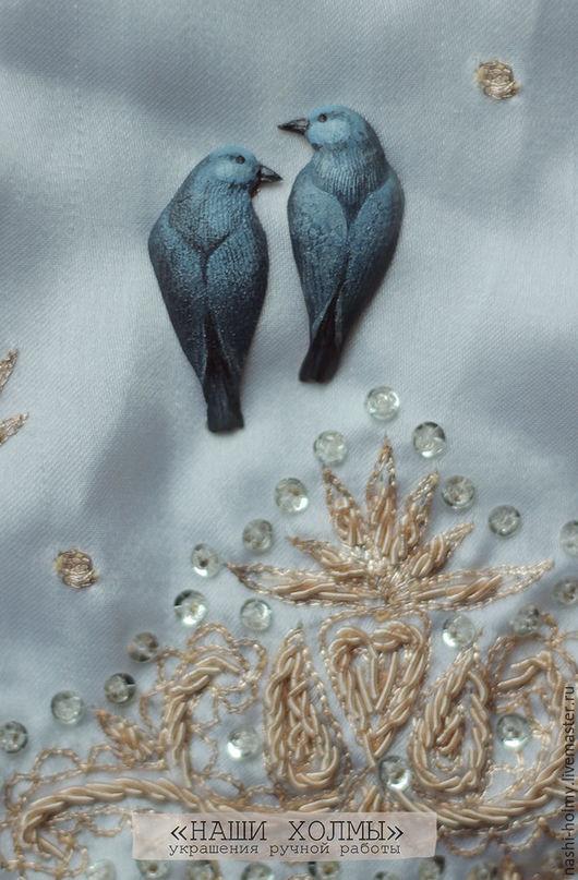 """Серьги ручной работы. Ярмарка Мастеров - ручная работа. Купить Серьги - гвоздики """"Синяя птица"""". Handmade. Синий, сережки, медь"""