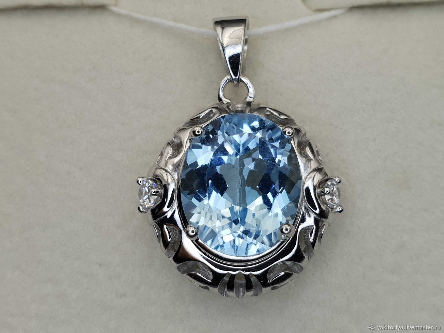 925 sterling silver pendant with 12h10 mm topaz and cubic zirconia, Pendants, Moscow,  Фото №1