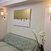 Картины и панно handmade. Livemaster - original item Interior painting abstraction with gilding white gold color. Handmade.