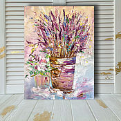 Картины и панно handmade. Livemaster - original item Lavender oil painting lavender Morning. Handmade.