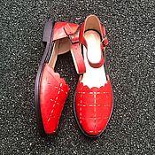 Обувь ручной работы handmade. Livemaster - original item sandals: Floral sandals red brick black smooth sole. Handmade.