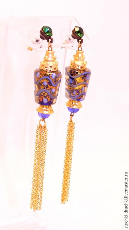 """Серьги ручной работы. Ярмарка Мастеров - ручная работа. Купить длинные серьги """"Китайский фонарик"""". Handmade. Синий"""