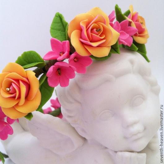 Диадемы, обручи ручной работы. Ярмарка Мастеров - ручная работа. Купить Ободок для волос РУЗАННА. Handmade. Розовый, ободок с цветами