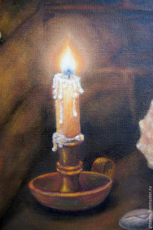 """Натюрморт ручной работы. Ярмарка Мастеров - ручная работа. Купить """"Радость"""". Handmade. Коричневый, свеча, картина для интерьера, огонь"""