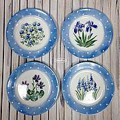 """Посуда handmade. Livemaster - original item Роспись фарфора.Набор тарелок  """"Синенькие в горошек"""" 4 шт.. Handmade."""