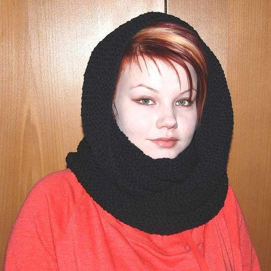 """Шали, палантины ручной работы. Ярмарка Мастеров - ручная работа. Купить Снуд-шарф черный  """"Зимняя ночь"""" (шерсть). Handmade."""