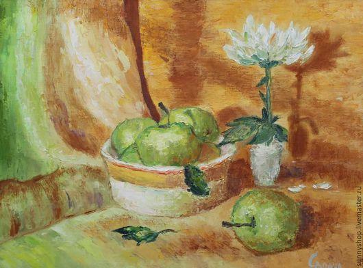 """Натюрморт ручной работы. Ярмарка Мастеров - ручная работа. Купить Картина маслом на кухню """"Оранжевый натюрморт с зелеными яблоками"""". Handmade."""