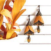 Украшения handmade. Livemaster - original item Long leather earrings Buds. Handmade.