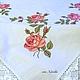 """Текстиль, ковры ручной работы. Ярмарка Мастеров - ручная работа. Купить Винтажная льняная скатерть с вышивкой """"Бутоны роз"""". Handmade."""