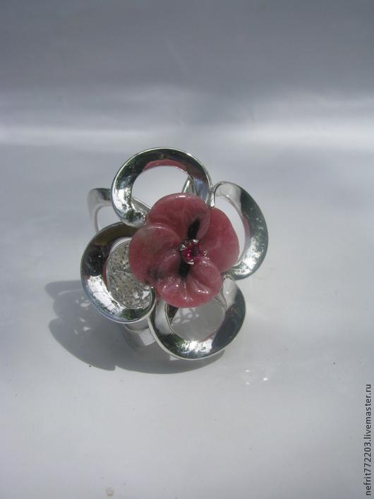 Кольца ручной работы. Ярмарка Мастеров - ручная работа. Купить Кольцо с цветком. Handmade. Разноцветный, резьба по камню