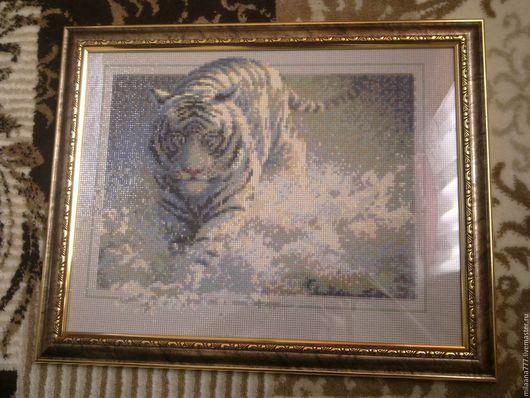 """Животные ручной работы. Ярмарка Мастеров - ручная работа. Купить Алмазная вышивка """"Прыжок тигра"""". Handmade. Тигр, алмазная мозаика"""