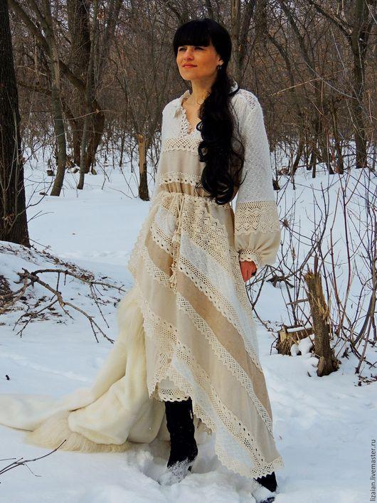 Платья ручной работы. Ярмарка Мастеров - ручная работа. Купить Платье зимнее в стиле БОХО (№35). Handmade. Комбинированный