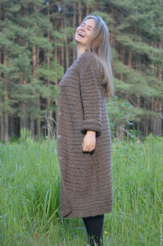 """Верхняя одежда ручной работы. Ярмарка Мастеров - ручная работа. Купить Пальто вязаное из альпаки """"Кофе"""". Handmade. Коричневый"""