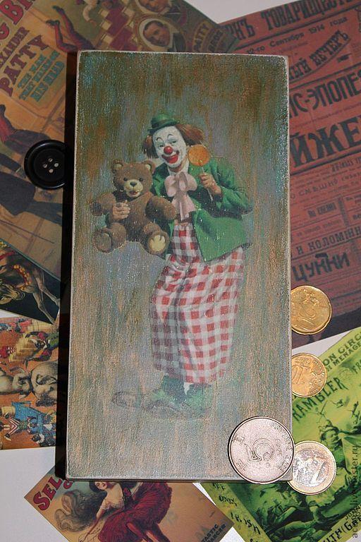 """Шкатулки ручной работы. Ярмарка Мастеров - ручная работа. Купить Купюрница""""Мои клоуны"""". Handmade. Зеленый, купюрница клоуны, декупажные материалы"""