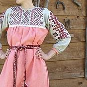 Русский стиль ручной работы. Ярмарка Мастеров - ручная работа платье русское   с вышивкой обережное. Handmade.
