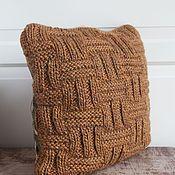 Для дома и интерьера ручной работы. Ярмарка Мастеров - ручная работа Подушка вязаная текстильна Табак. Handmade.