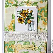 Открытки ручной работы. Ярмарка Мастеров - ручная работа открытка с веточкой желтой розы к дню рождения. Handmade.
