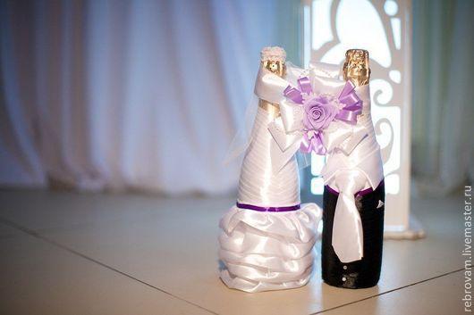 """Свадебные аксессуары ручной работы. Ярмарка Мастеров - ручная работа. Купить Свадебные аксессуары ручной работы. Свадебное шампанское """"Жених и неве. Handmade."""