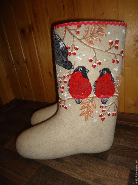 """Обувь ручной работы. Ярмарка Мастеров - ручная работа. Купить Валенки женские """"Снегири-3"""". Handmade. Белый, валенки с вышивкой"""