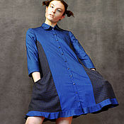Одежда ручной работы. Ярмарка Мастеров - ручная работа Расклешенное платье-рубашка синее. Handmade.