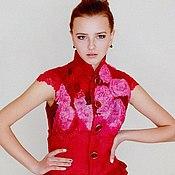 """Одежда ручной работы. Ярмарка Мастеров - ручная работа валянный жилет """"Red and Rose"""".. Handmade."""