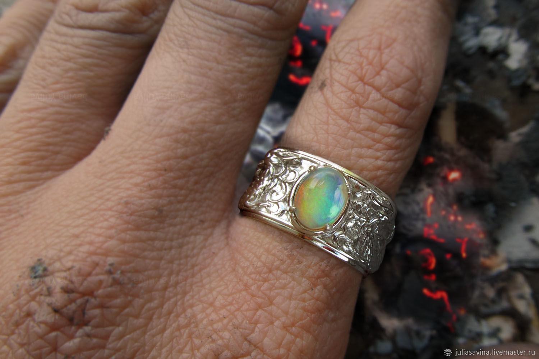 Кольца ручной работы. Ярмарка Мастеров - ручная работа. Купить Кольцо Драконы из серебра с натуральным опалом. Handmade. Дракон