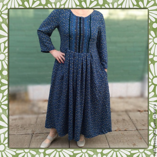 """Платья ручной работы. Ярмарка Мастеров - ручная работа. Купить """" Мильфлёр. Бирюза"""" платье из штапеля. Art. 1055. Handmade."""