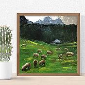 Картины и панно handmade. Livemaster - original item Summer landscape with sheep, painting with animals, painting village.. Handmade.